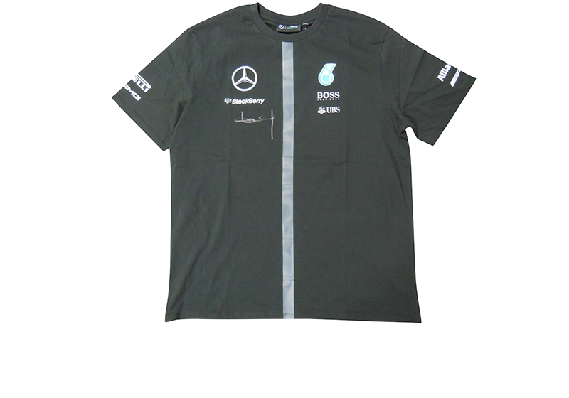 offizielles mercedes formel 1 shirt mit signatur von nico. Black Bedroom Furniture Sets. Home Design Ideas